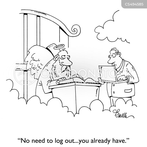 logging out cartoon