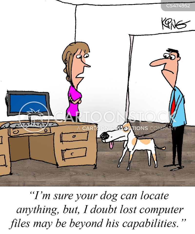 search dog cartoon