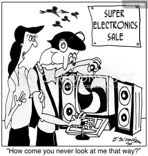 electronics sale cartoon