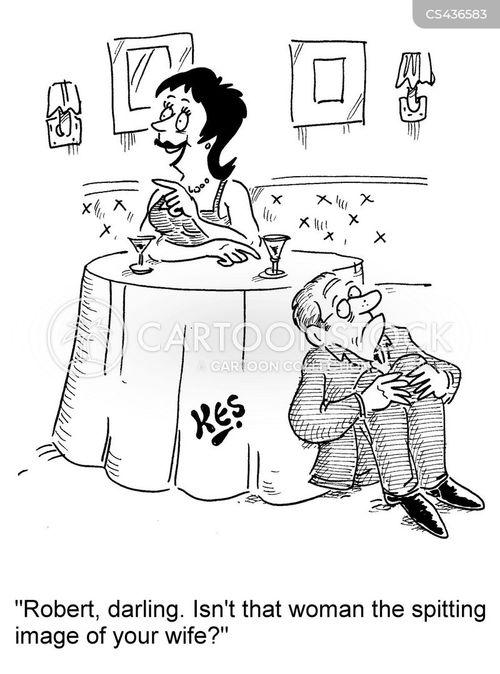 suspicious wife cartoon