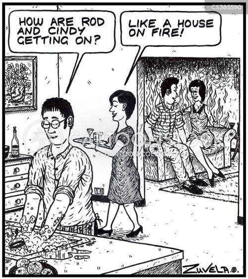 house on fire cartoon
