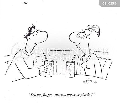 paper or plastic cartoon