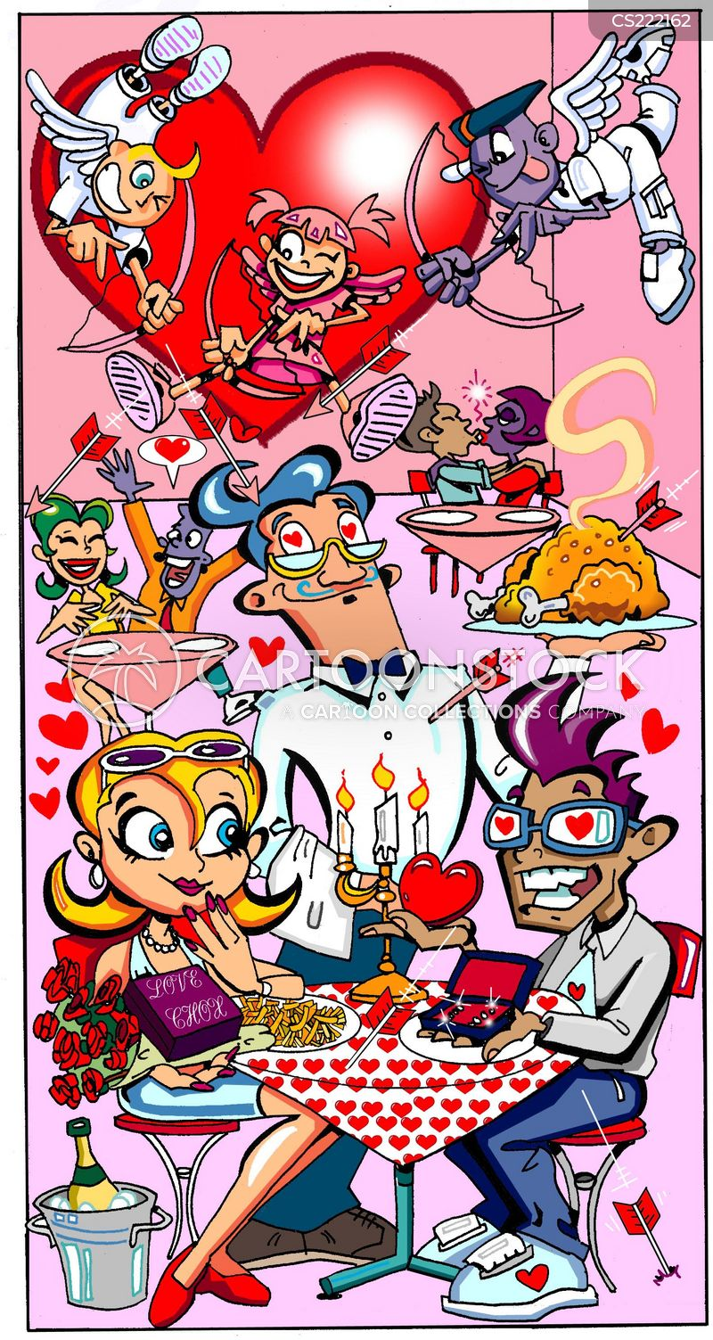romantic dinners cartoon