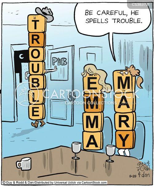 spelling trouble cartoon