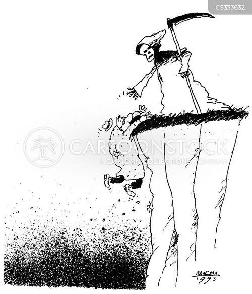 cliff hanging cartoon