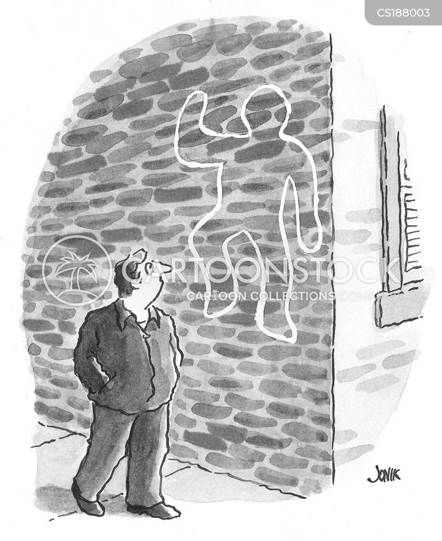 murder scene cartoon