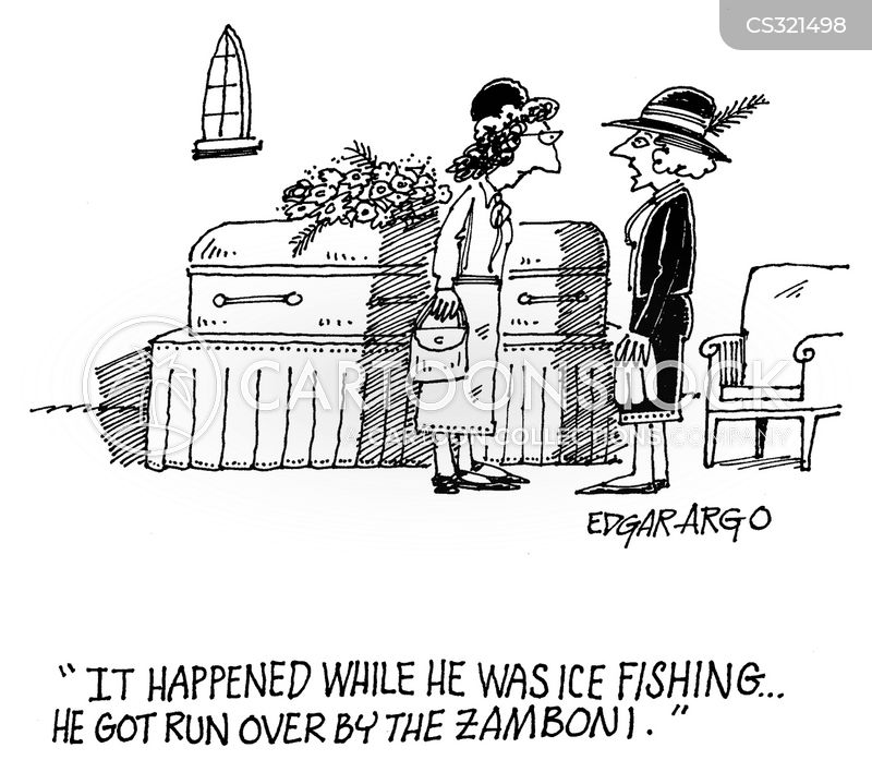 died ice fishing cartoon