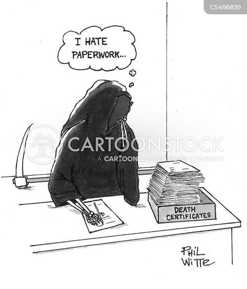 death certificate cartoon