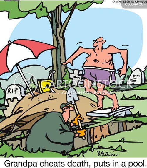 grave digging cartoon