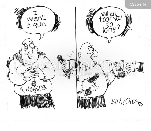buying guns cartoon