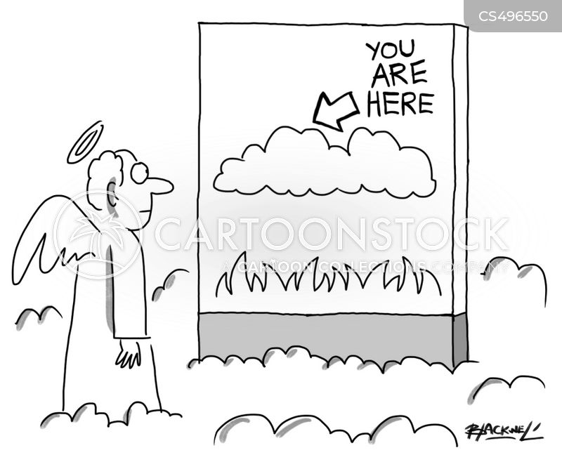 you are here sign cartoon