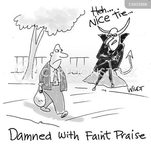 faint praise cartoon