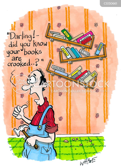 crooked bookshelves cartoon