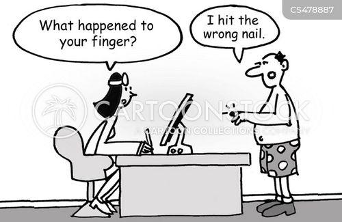 broken finger cartoon