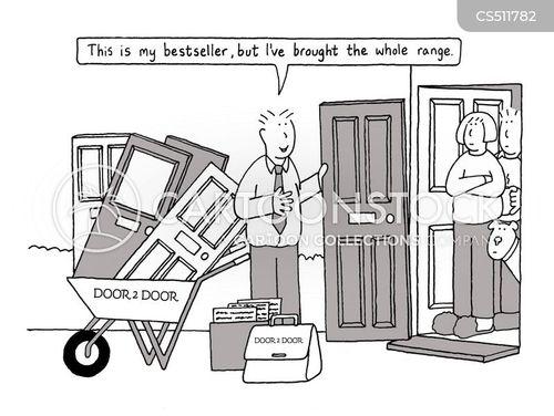 door to door salesperson cartoon