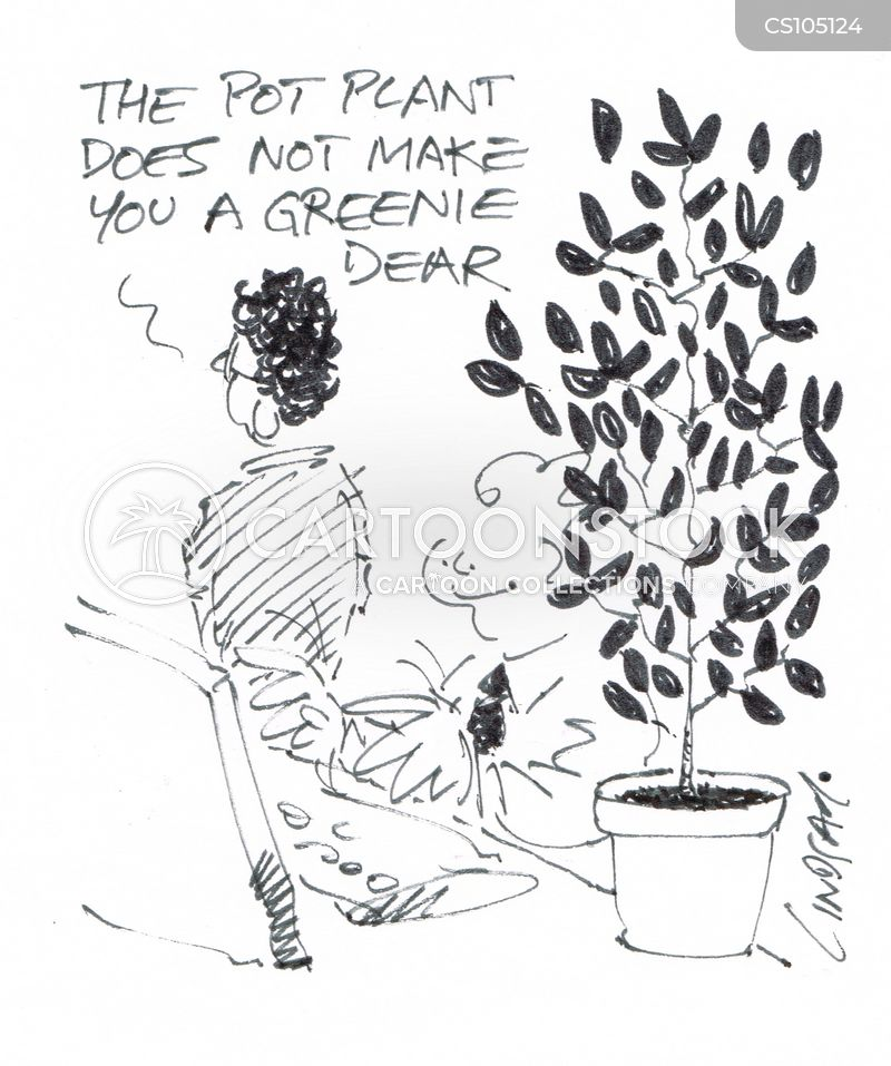 potted plant cartoon