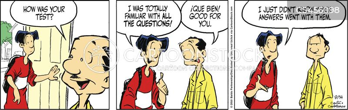 test question cartoon