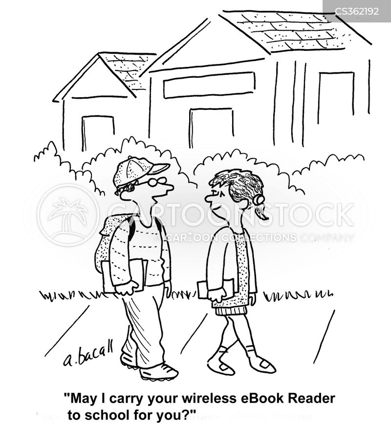 ebook reader cartoon