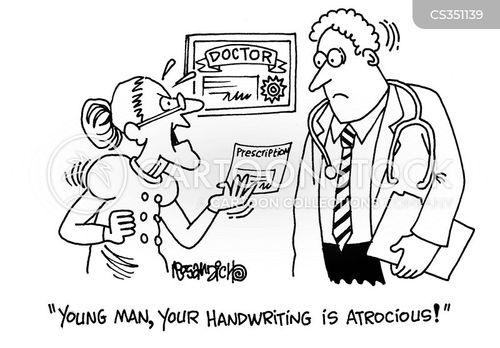 hand-writing cartoon