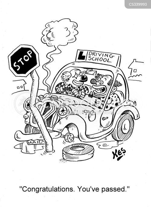 driving exam cartoon