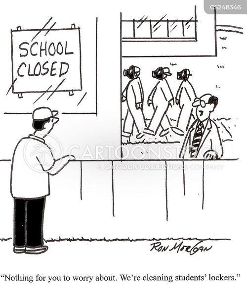 closed school cartoon