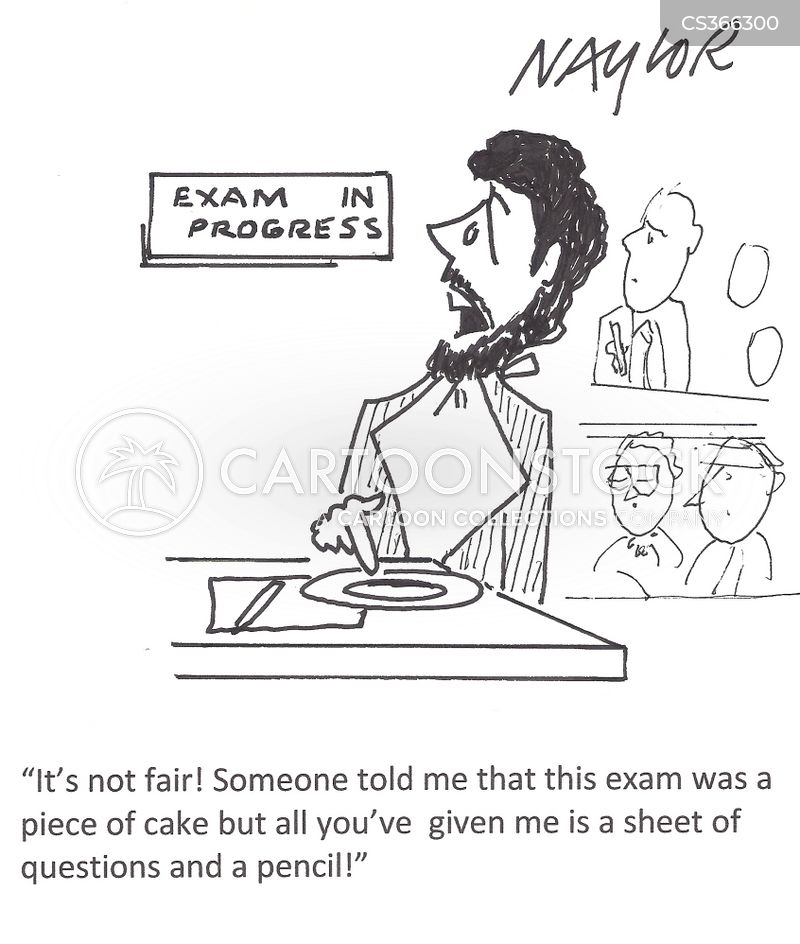 test papers cartoon
