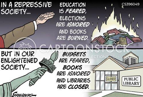 library closures cartoon