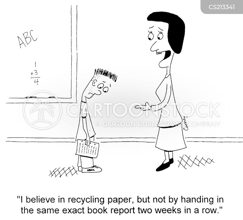 recycled paper cartoon
