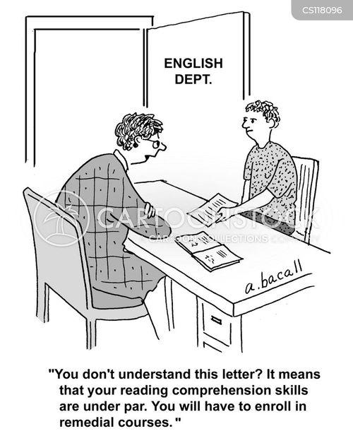 reading skills cartoon