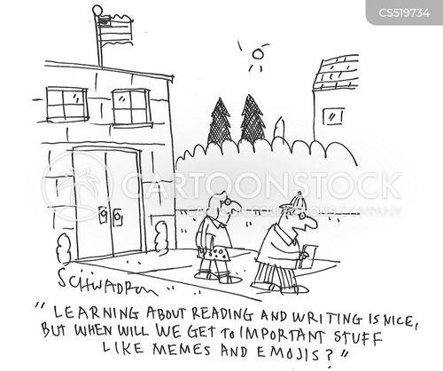 reading and writing cartoon
