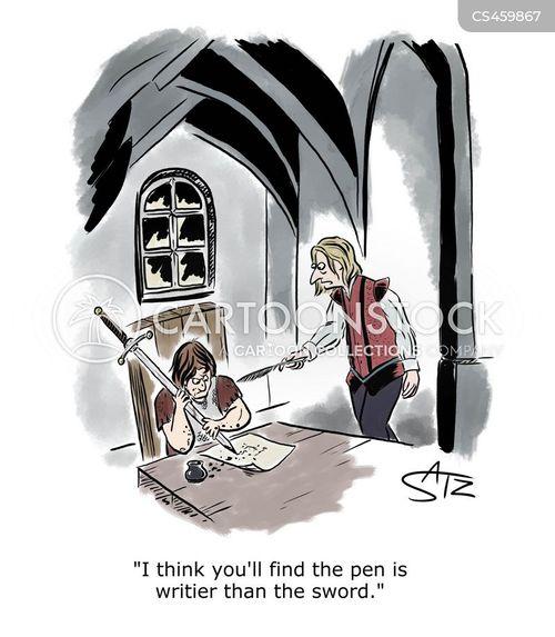 pen is mightier than the sword cartoon