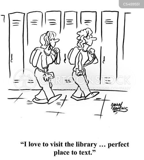 school library cartoon