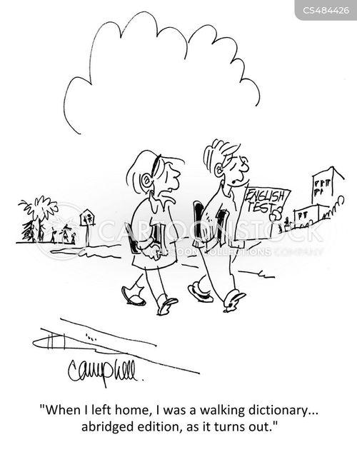 english test cartoon