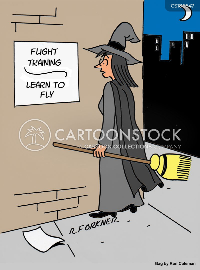flying broomstick cartoon