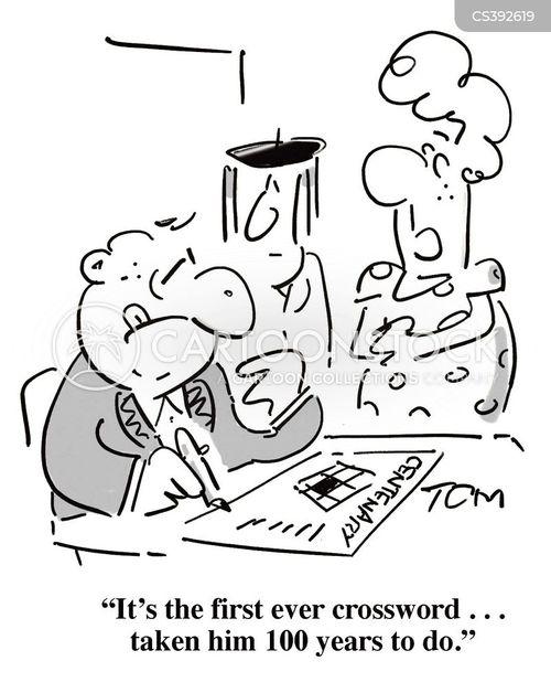 crossword puzzle cartoon