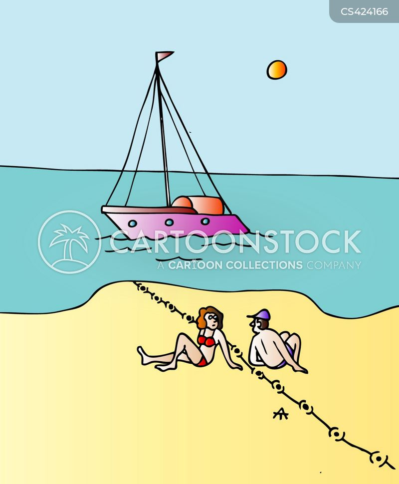 segregated beach cartoon