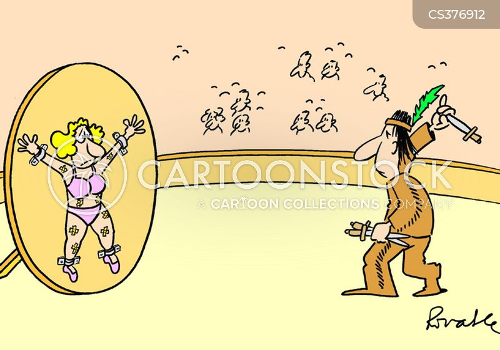 knife-throwers cartoon