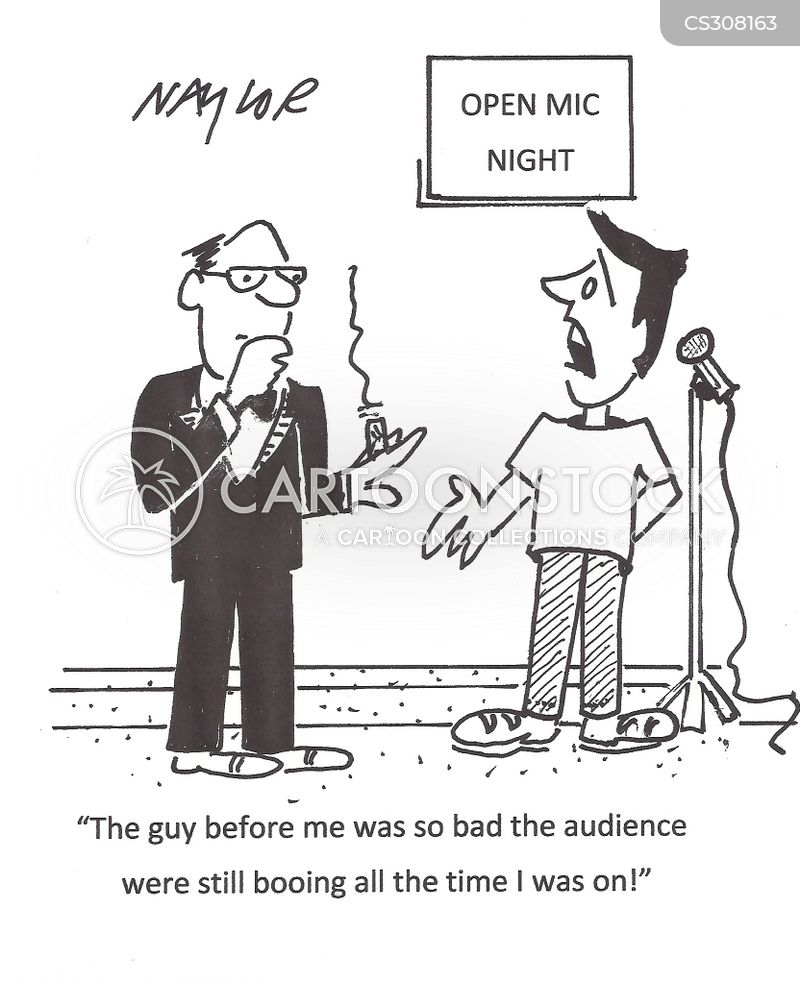 open mic night cartoon