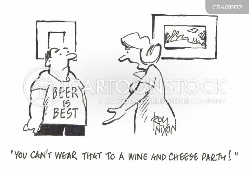 wine and cheese party cartoon