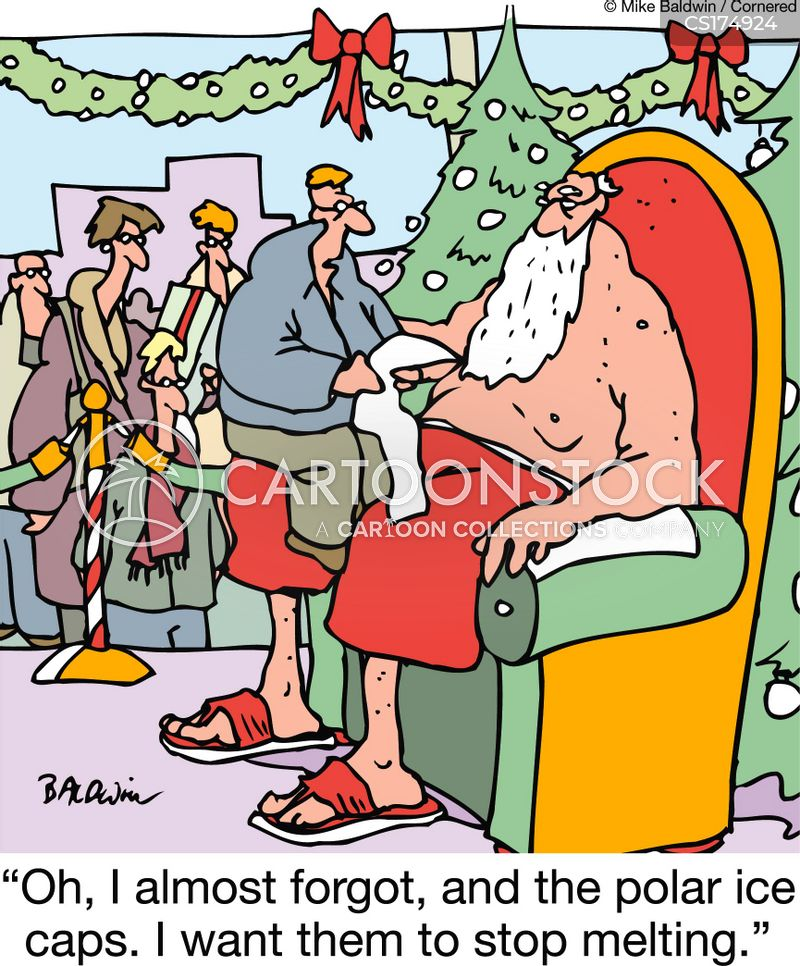 visiting santa cartoon