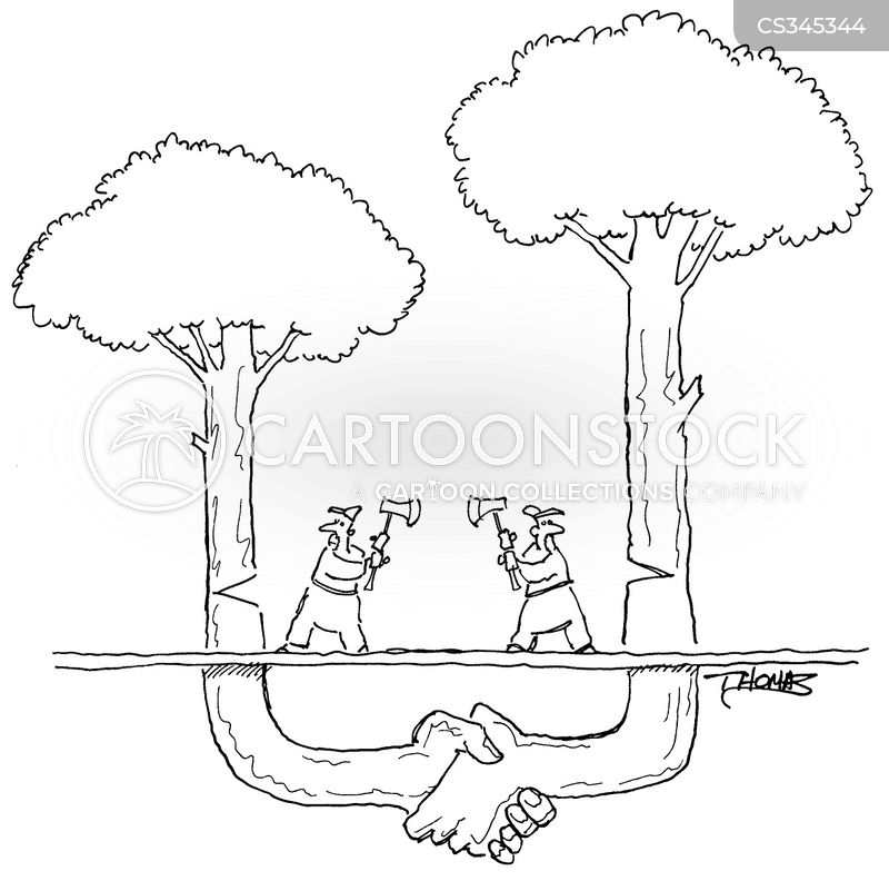wood cutters cartoon