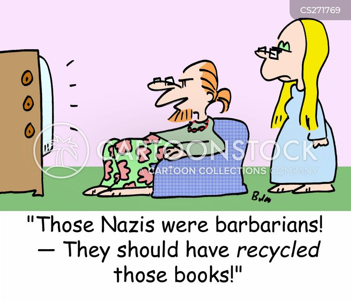book burning cartoon