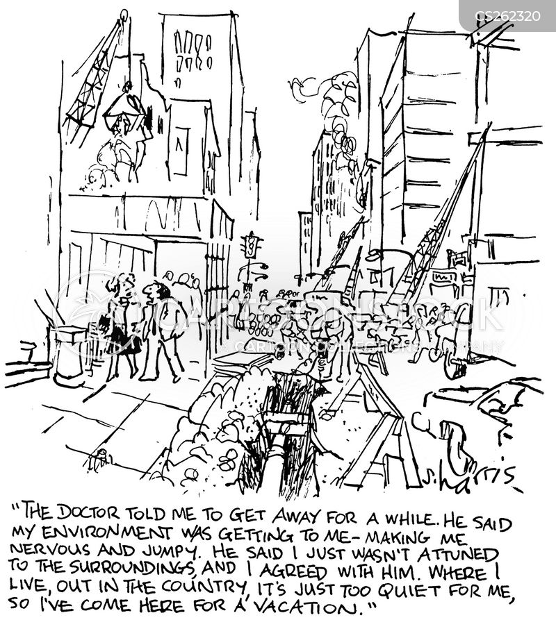 city pollution cartoon