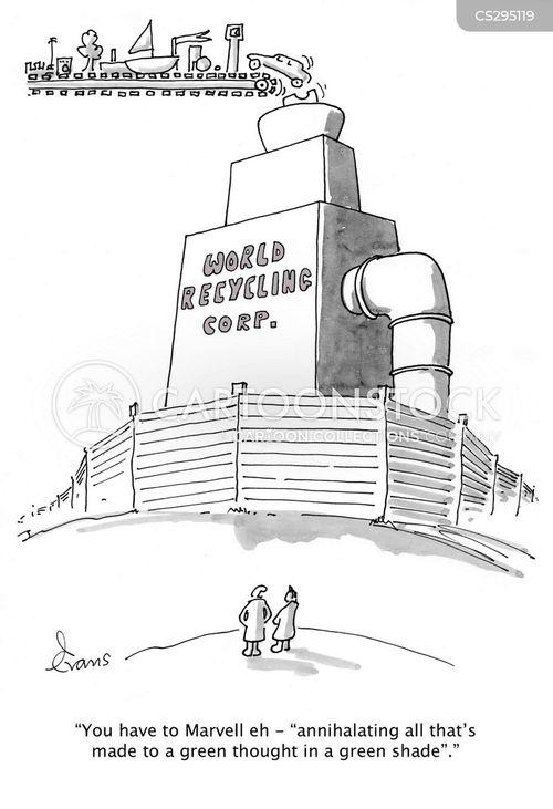 recycling plant cartoon