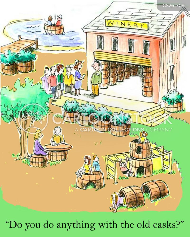 wine barrels cartoon