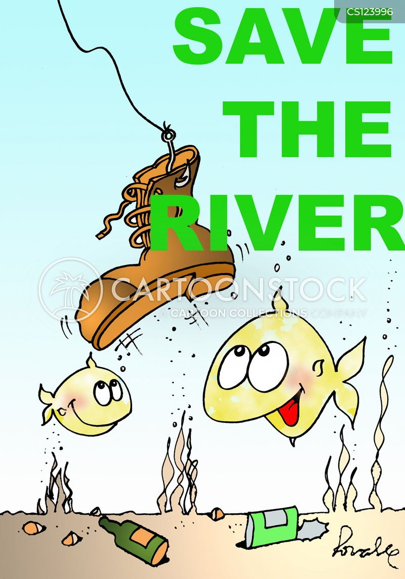 polluted waters cartoon