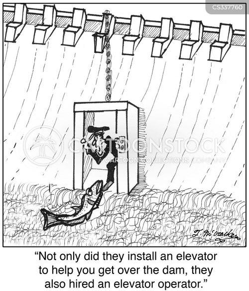 hydroelectric dam cartoon