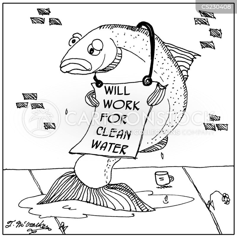 polluted water cartoon
