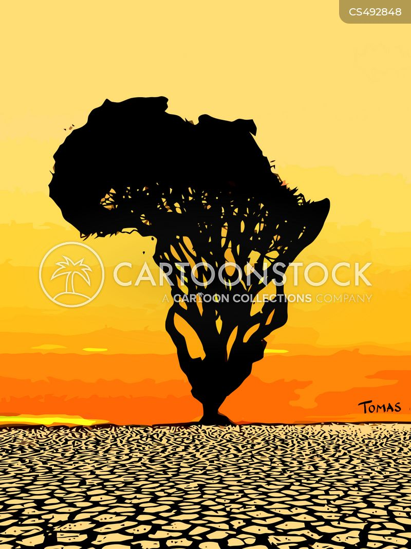 african climate. cartoon