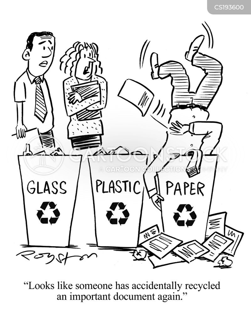 recycling bins cartoon